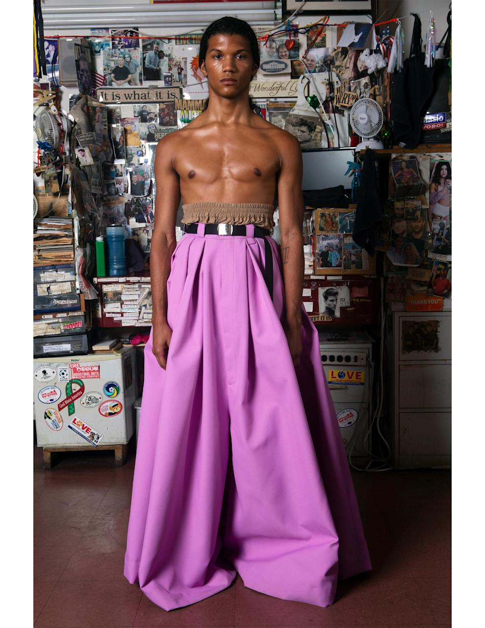A look from Willy Chavarria's spring 2022 collection.