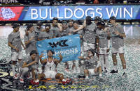 Gonzaga celebrates after defeating BYU in an NCAA college basketball game for the West Coast Conference men's tournament championship Tuesday, March 9, 2021, in Las Vegas. (AP Photo/David Becker)
