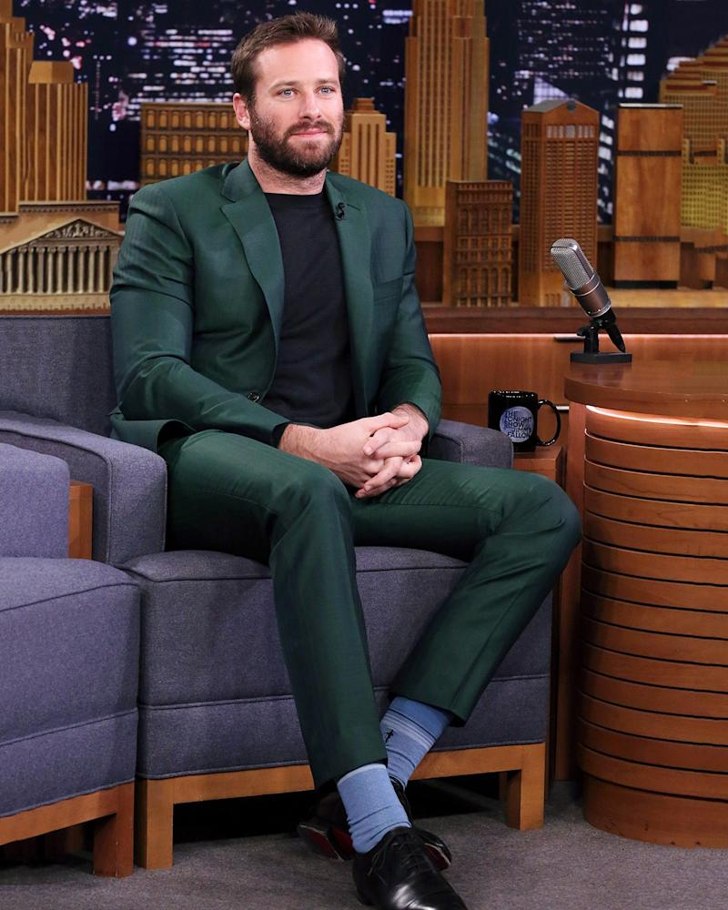 Fun fact—right after this, Armie Hammer's suit was sent directly to the Late Night Outfit Hall of Fame.