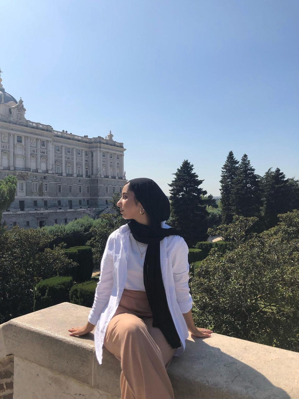 <h2>Furvah, 21, moved from the UK to Madrid, Spain in August 2019</h2><br>I had the option to study a semester of my course abroad with the Erasmus scheme (which has now ended post-Brexit, unfortunately) so I jumped at the chance after building the confidence to do so from moving to London from my hometown in the West Midlands for university.<br><br>I envisioned Spain to be very cultural, diverse and, of course, warm! I love warm weather. I was quite keen to challenge myself by learning a new language, too. I thought it would be quite diverse as it is a major capital city and I could potentially find a community there as a Muslim woman of colour.<br><br>It was quite overwhelming, intimidating and a bit of a culture shock. Having to navigate little things like grocery shopping, getting on public transport and asking for directions with my broken Spanish proved difficult for at least the first few weeks. <br><br>Madrid wasn't what I expected it to be. I imagined it to be like London regarding the diversity of the people who lived there, so when I often found myself as the only Muslim or woman of colour present, it made me feel alone and sometimes quite unsafe. Dealing with different levels of racism and Islamophobia was probably the hardest part, alongside homesickness and loneliness. <br><br>I was as open as possible so I could meet more people! Going to different welcome events, language exchanges, salsa classes and more all helped me to reach outside my comfort zone and meet new people. I also built friendships with other international students in my flat and university, which helped me a lot as we were all experiencing similar things. <br><br>I was/am in constant contact with family and friends via social media, messaging and FaceTime. Some people I've drifted from or am no longer as close to, but I think that's a natural part of growing up and moving away. <br><br>I wish I'd had more faith in my strength and abilities and taken time to take care of myself when th