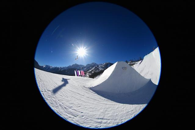 SOCHI, RUSSIA - FEBRUARY 06: (EDITORS NOTE: Image was created using a fisheye lens.) An athlete competes in the Women's Slopestyle Qualification during the Sochi 2014 Winter Olympics at Rosa Khutor Extreme Park on February 6, 2014 in Sochi, Russia. (Photo by Cameron Spencer/Getty Images)