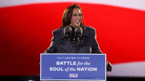 PHOTO: Democratic  vice presidential candidate Kamala Harris gives remarks during an event, in Philadelphia, Nov. 2, 2020. (Jonathan Ernst/Reuters)