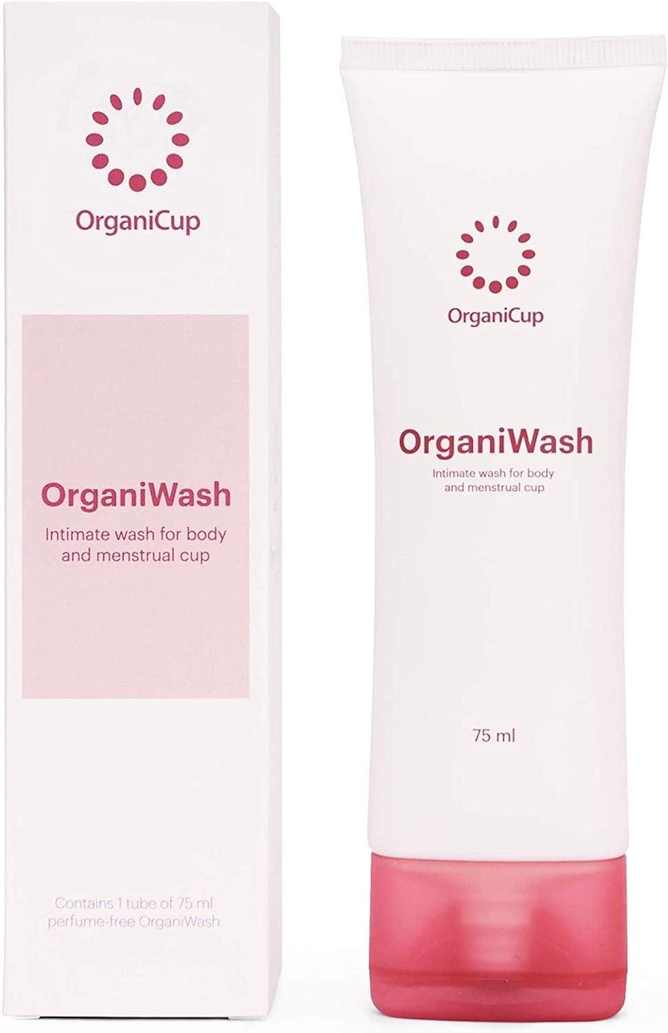 <p>Some Amazon reviewers claim only a little drop <span>Organiwash</span> ($8) is needed to effectively cleanse their cups. The formula itself is pH-balanced, free of perfume, and is designed for use on the body as well.</p>