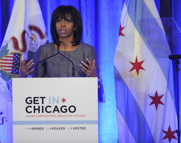 First lady Michelle Obama speaks about 15-year-old Hadiya Pendleton who was shot and killed on the south side of Chicago earlier this year during a luncheon at the Chicago Hilton in Chicago, Wednesday, April 10, 2013. The first lady is visiting Chicago for a discussion with Chicago Mayor Rahm Emanuel and civic leaders on ways to combat youth violence. (AP Photo/Paul Beaty)