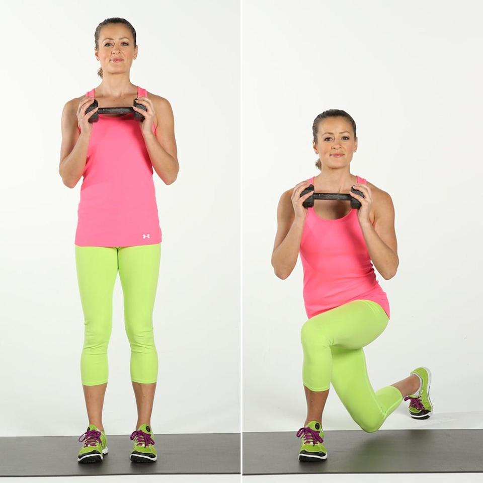 <ul> <li>Stand with your feet shoulder-distance apart. Grasp a dumbbell in each hand or a medicine ball. Extend your arms down at your sides if you are holding dumbbells, or hold the medicine ball in front of you with arms extended. </li> <li>Take a large step diagonally forward with your right foot, planting your foot at the 11 o'clock position. Sink down until your thighs form right angles. As you bend your knees, curl the dumbbells toward your upper arms or the medicine ball toward your chest.</li> <li>Extend your legs, lift your right knee and bring it in toward your chest, and lower your arms. </li> <li>Step back with your right leg, this time lunging behind your torso and stepping back to the 8 o'clock position. As you sink down into the reverse lunge, complete another bicep curl. This completes one rep.</li> </ul>