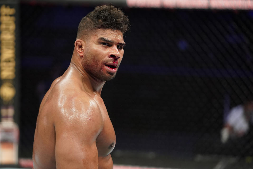 JACKSONVILLE, FLORIDA - MAY 16: Alistair Overeem of the Netherlands reacts after his TKO victory over Walt Harris in their heavyweight fight during the UFC Fight Night event at VyStar Veterans Memorial Arena on May 16, 2020 in Jacksonville, Florida. (Photo by Cooper Neill/Zuffa LLC via Getty Images)