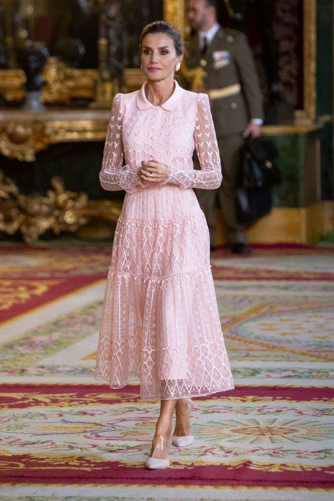 <p>The Queen wore this delicate, pink frock at a Royal Palace reception during Spain's National Day.</p>