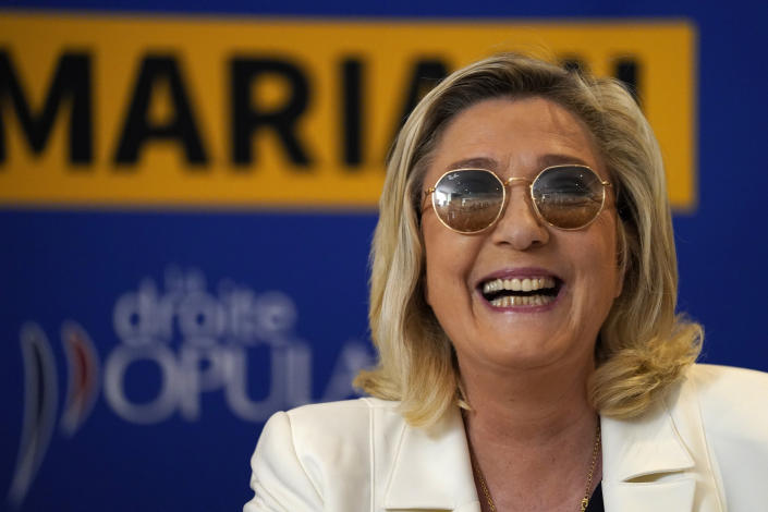Far-right leader Marine le Pen smiles during a press conference in Toulon, southern France, Thursday, June 17, 2021. Although the winner of Sundays June 20 and 27 in the regional elections will only deal with local issues, Marine Le Pen's Rassemblement National (National Rally) party could for the first time capture one of France's 13 regions. (AP Photo/Daniel Cole)