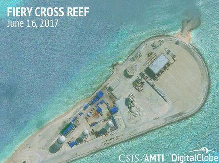 Construction is shown on Fiery Cross Reef, in the Spratly Islands, the disputed South China Sea in this June 16, 2017 satellite image released by CSIS Asia Maritime Transparency Initiative at the Center for Strategic and International Studies (CSIS) to Reuters on June 29, 2017. MANDATORY CREDIT CSIS/AMTI DigitalGlobe/Handout via REUTERS