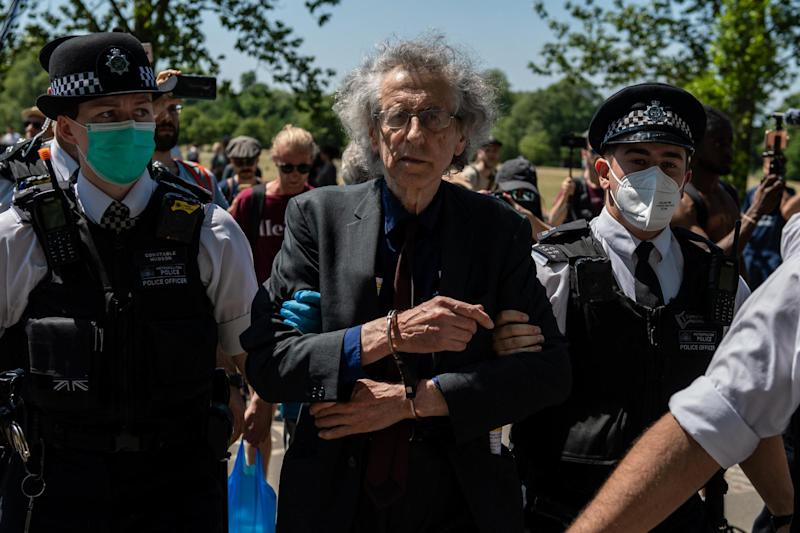 Piers Corbyn was arrested for the second time in a fortnight during the Hyde Park protest today: Getty Images