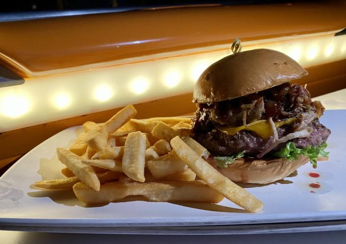The Drive-in BBQ Burger at Sci-Fi Dine-In Theater Restaurant never disappoints. (Terri Peters)