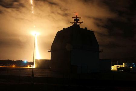 FILE PHOTO: Intercept flight test of a land-based Aegis Ballistic Missile in Kauai Hawaii