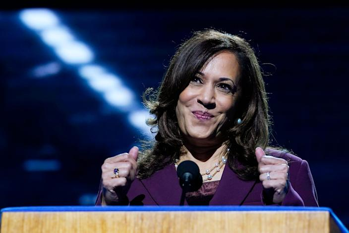 Democratic vice presidential candidate Sen. Kamala Harris, D-Calif., speaks during the third day of the Democratic National Convention, Wednesday, Aug. 19, 2020, at the Chase Center in Wilmington, Del.
