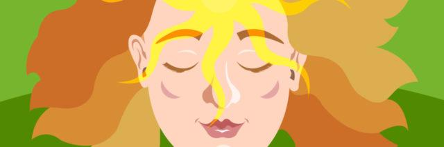 An illustration of an enlightened woman with her eyes closed.