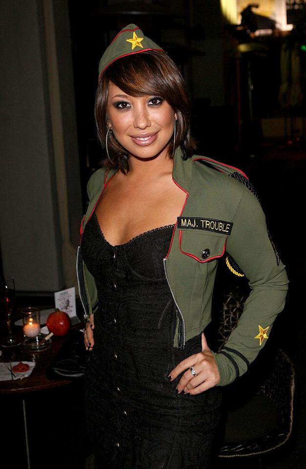 "Looks like Cheryl Burke aka Major Trouble also got a costume from the same naughty military line as Kris. Jesse Grant/<a href=""http://www.wireimage.com"" target=""new"">WireImage.com</a> - October 30, 2008"