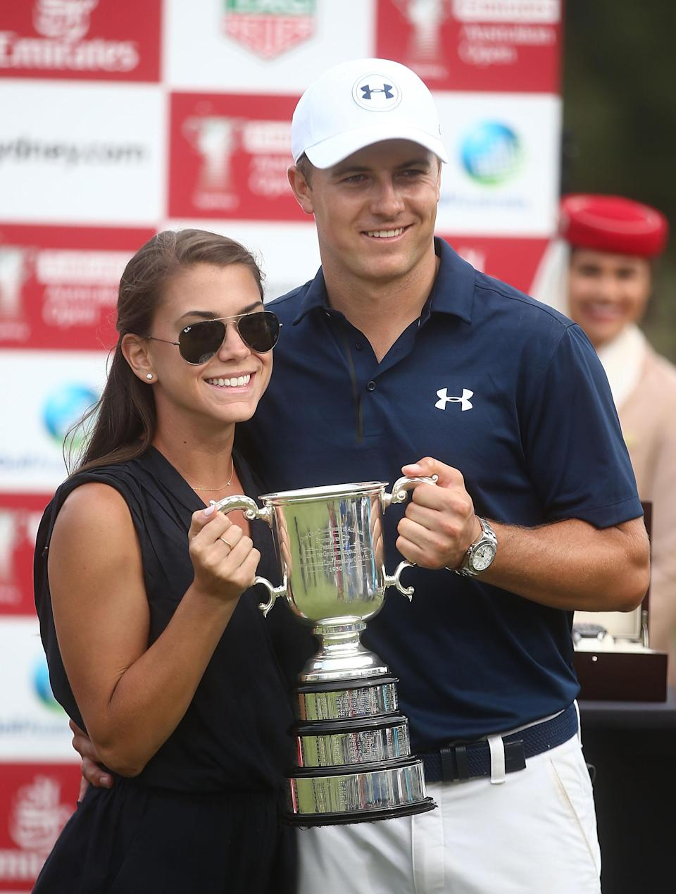 SYDNEY, AUSTRALIA - NOVEMBER 20: Jordan Spieth of the United States and girlfriend Annie Verret pose with the Stonehaven trophy after winning the 2016 Australian Open during day four of the 2016 Australian golf Open at Royal Sydney Golf Club on November 20, 2016 in Sydney, Australia. (Photo by Mark Metcalfe/Getty Images)