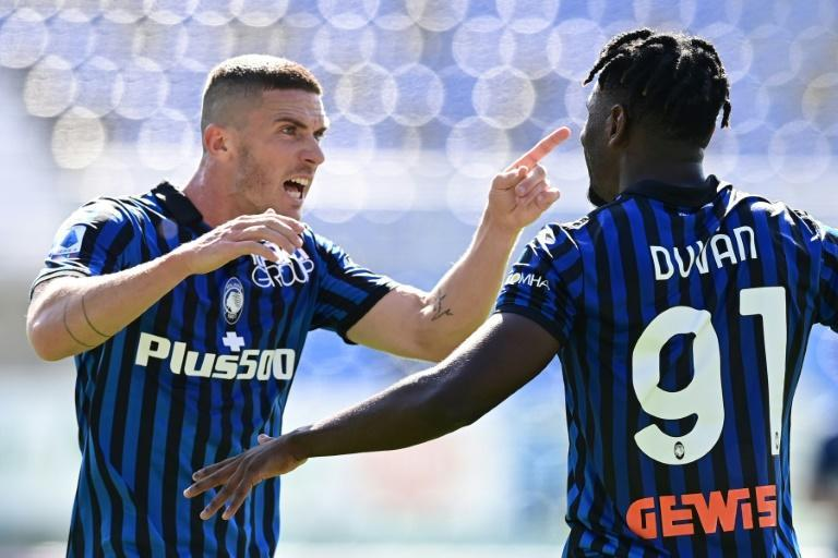 Atalanta's Duvan Zapata and Robin Gosens. How will the Italian side get on in a group also containing Liverpool and Ajax?