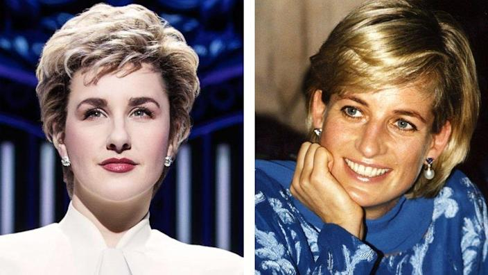 Jeanna de Waal in Diana: The Musical and Diana, Princess of Wales in May 1997