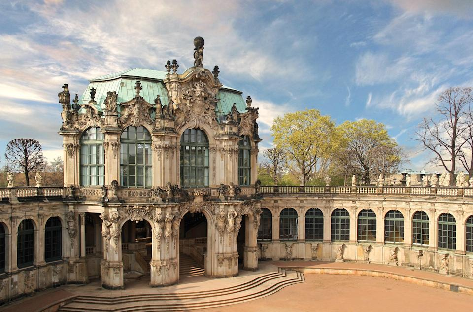 The orangery at the baroque palace Zwinger in Dresden, Germany, built in 1709 under the rule of Frederick Augustus the Strong, was inspired by the orangery at Versailles. Orangeries were a precursor to conservatories, designed as a combination of masonry and glass windows to house—you guessed it—orange trees.