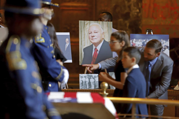 Former Louisiana Governor Edwin W. Edwards lies in state in Memorial Hall of the Louisiana State Capitol in Baton Rouge, La., Saturday, July 17, 2021. The colorful and controversial four-term governor died of a respiratory illness on Monday, July 12. (AP Photo/Michael DeMocker)