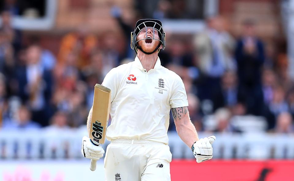 England's Ben Stokes celebrates reaching his century. (Photo by Mike Egerton/PA Images via Getty Images)