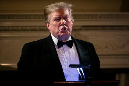 U.S. President Donald Trump speaks on U.S. and China trade negotiations at the Governors' Ball, in the State Dining Room of the White House, in Washington, U.S., February 24, 2019. REUTERS/Al Drago