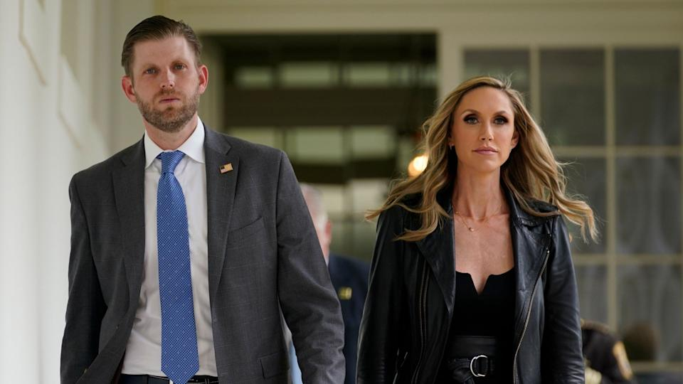 Mandatory Credit: Photo by Evan Vucci/AP/Shutterstock (10681609b)Eric Trump, the son of President Donald Trump, and Lara Trump arrive for an event on police reform, in the Rose Garden of the White House, in WashingtonTrump, Washington, United States - 16 Jun 2020.