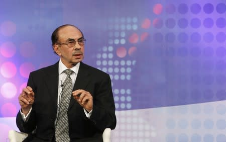 Chairman of The Godrej Group Adi Godrej speaks during a televised debate at the WEF India Economic Summit in Mumbai