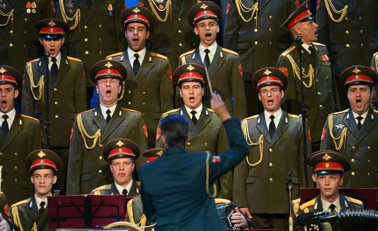 The Red Army Choir performs during their first concert since many of its members perished in a plane crash, in Moscow on February 16, 2017