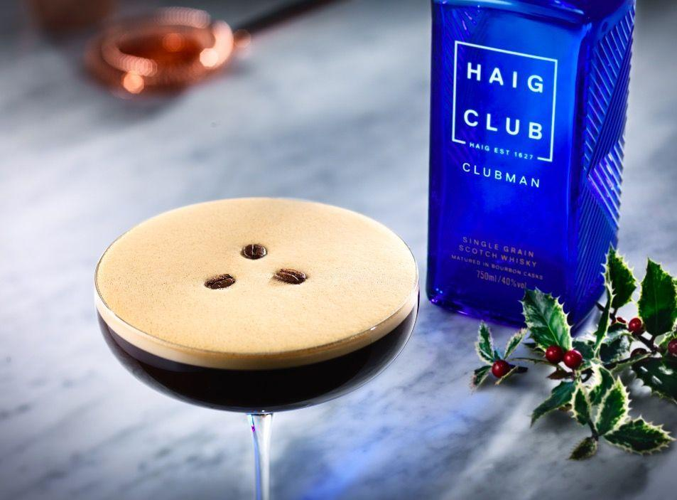 """<p>In a cocktail shaker, mix 25ml <a href=""""https://www.amazon.co.uk/Haig-Club-Clubman-Single-Scotch/dp/B01KGFDXWA"""" rel=""""nofollow noopener"""" target=""""_blank"""" data-ylk=""""slk:Haig Club Clubman"""" class=""""link rapid-noclick-resp"""">Haig Club Clubman</a>, 25 ml Creme de Cacao, 25ml espresso and 10ml Gingerbread Syrup together. Strain into a martini glass and garnish with coffee beans and cinnamon. </p>"""