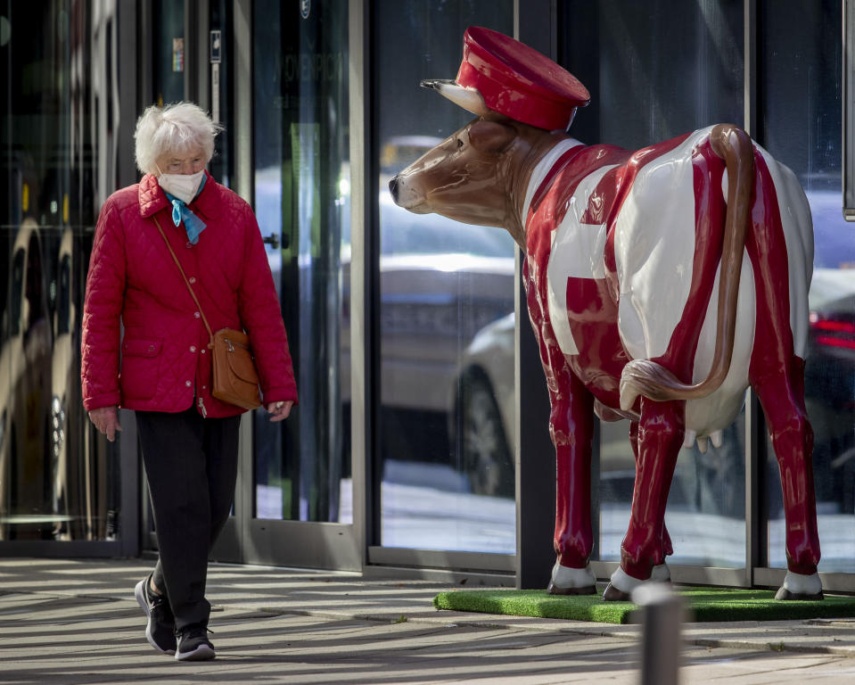 An elderly woman wearing a face mask walks past a plastic cow that decorates a hotel entrance in Frankfurt, Germany, Monday, March 29, 2021. (AP Photo/Michael Probst)