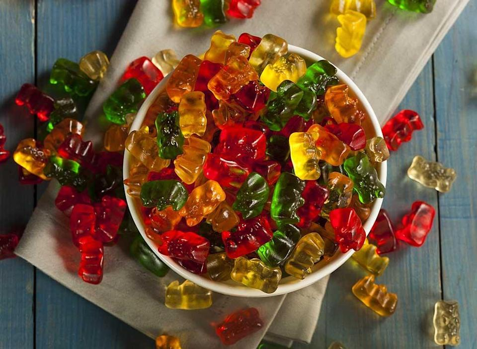 bowl of gummy bears candy