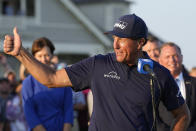 Phil Mickelson speaks after winning the PGA Championship golf tournament on the Ocean Course, Sunday, May 23, 2021, in Kiawah Island, S.C. (AP Photo/David J. Phillip)