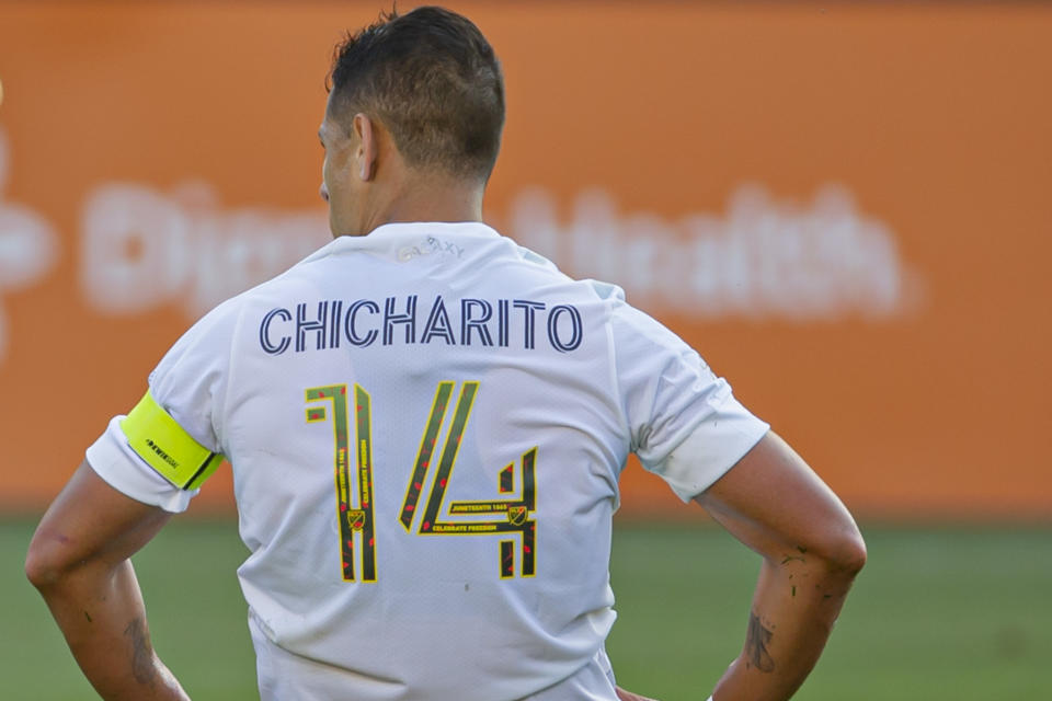CARSON, CA - JUNE 19: Javier Hernandez #14 of the Los Angeles Galaxy during a game between Seattle Sounders FC and Los Angeles Galaxy at Dignity Health Sports Park on June 19, 2021 in Carson, California. (Photo by Michael Janosz/ISI Photos/Getty Images)