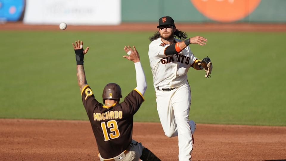 Brandon Crawford looks to turn double play