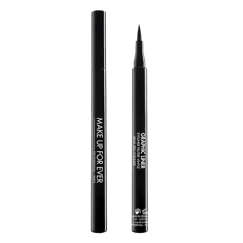 """The soft but sturdy foam nib makes light work of winged eyeliner, whether you like a dramatic flick or prefer something more understated. <br><br><strong>Make Up For Ever</strong> Graphic Liner, $, available at <a href=""""https://www.feelunique.com/p/MAKE-UP-FOR-EVER-GRAPHIC-LINER-1ml"""" rel=""""nofollow noopener"""" target=""""_blank"""" data-ylk=""""slk:FeelUnique"""" class=""""link rapid-noclick-resp"""">FeelUnique</a>"""