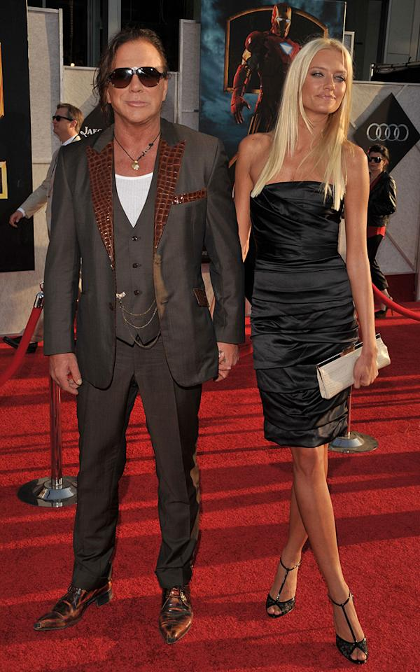 """<a href=""""http://movies.yahoo.com/movie/contributor/1800010853"""">Mickey Rourke</a> and guest at the Los Angeles premiere of <a href=""""http://movies.yahoo.com/movie/1810026429/info"""">Iron Man 2</a> - 04/26/2010"""