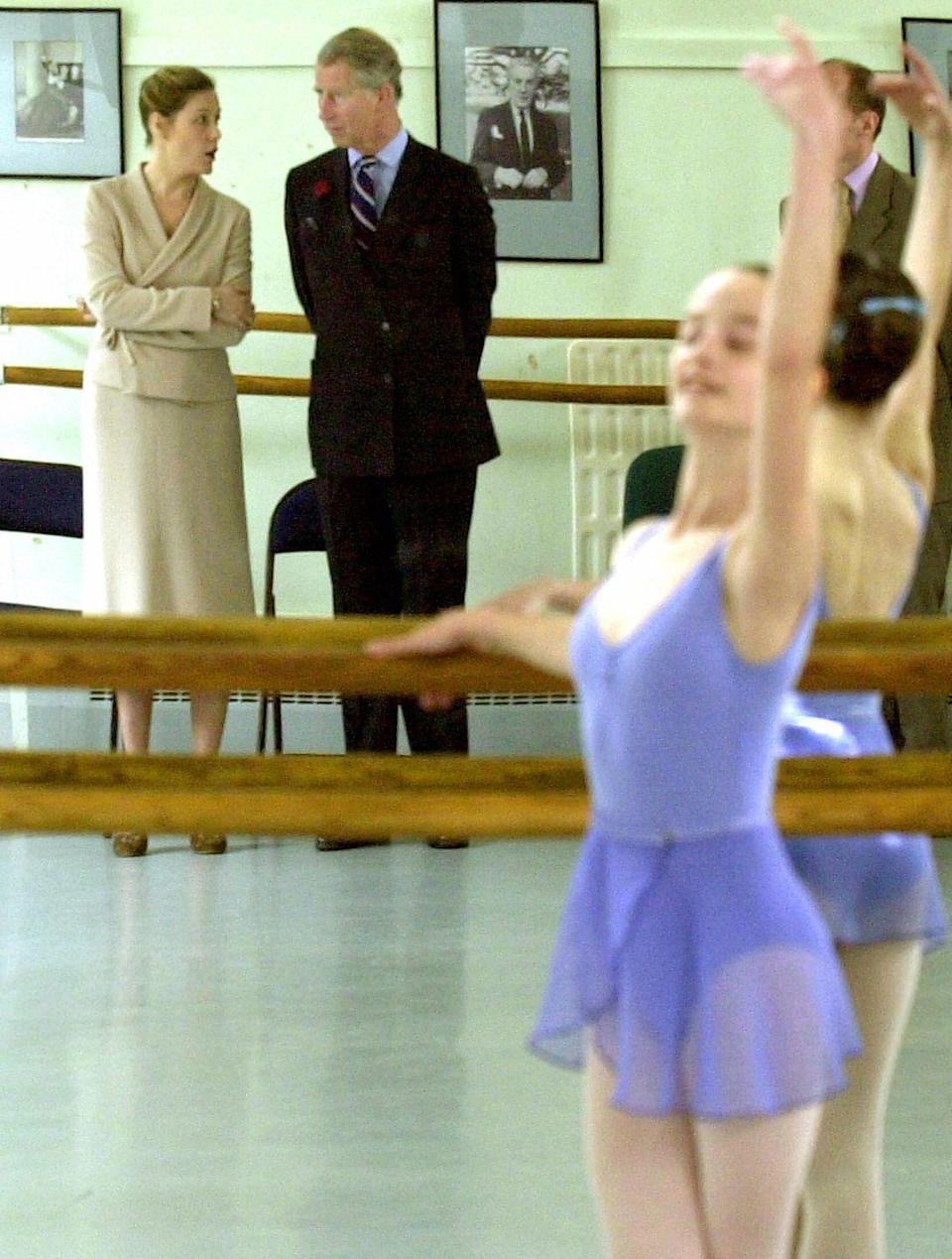 <p>Prince Charles currently serves as the President of the Royal Ballet. Here is is watching a lesson at the organizations's White Lodge School in Richmond Park in 2004.</p>