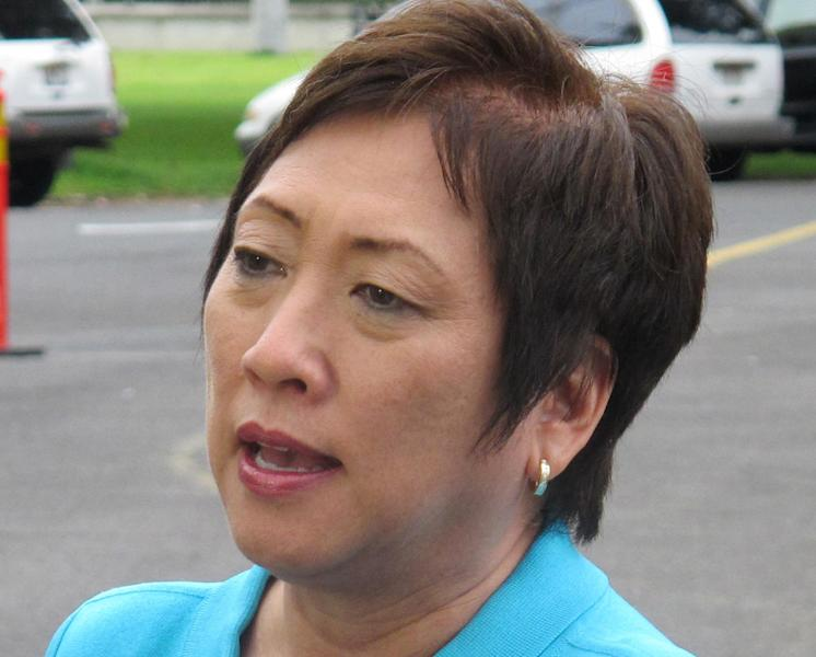 FILE - This Dec. 24, 2012 file photo shows Rep. Colleen Hanabusa, D-Hawaii speaking in Honolulu. President Barack Obama is endorsing Hawaii Sen. Brian Schatz in his primary race against Hanabusa. That's according to a Democratic National Committee official, who spoke on condition of anonymity because the person was not authorized to speak publicly about it before Obama's announcement. . (AP Photo/Becky Bohrer, File)