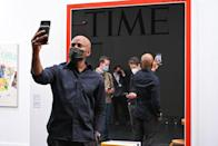 """<p>If there was a """"Selfie Magnet"""" award at Frieze New York, this work by Los Angeles–based artist Mungo Thomson would certainly have taken the cake. Titled <em>October 3–October 12, 2020 (Ruth Bader Ginsburg 1933–2020),</em> the mirrored piece—one of several such <em>Time</em> mirrors in the artist's oeuvre—allowed fairgoers to enjoy a whole 15 seconds of fame.</p>"""
