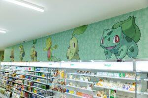 牆面上印有808隻寶可夢,其中包含各代經典角色 | 808 Pokémon are printed on the wall, including the classic characters of each generation. (Courtesy of 7-11/Facebook)