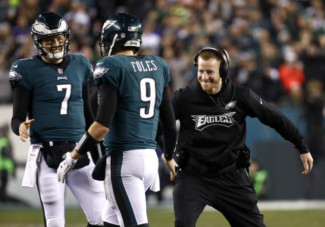 "Haley Parks is very sad about <a class=""link rapid-noclick-resp"" href=""/nfl/players/29236/"" data-ylk=""slk:Carson Wentz"">Carson Wentz</a> having to watch the Super Bowl from the sideline. (AP)"