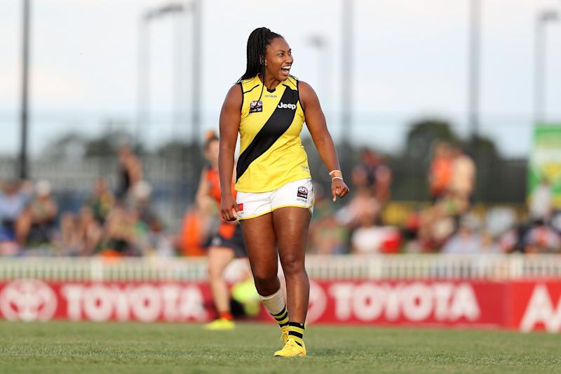 Sabrina Frederick in action for the Richmond Tigers missed a shot on goal during the round five AFLW match against Greater Western Sydney Giants at Robertson Oval on March 07, 2020 in Wagga Wagga. (Photo: Jack Thomas via Getty Images)