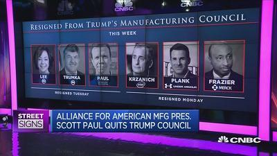 Brendon O'Connor, associate professor at the U.S. Studies Centre, Sydney University, weighs in on the six resignations among members of Trump's manufacturing council.