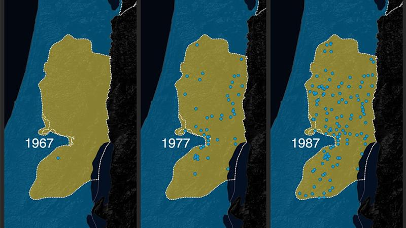 A map of Israeli settlements in the West Bank from 1967-1987.