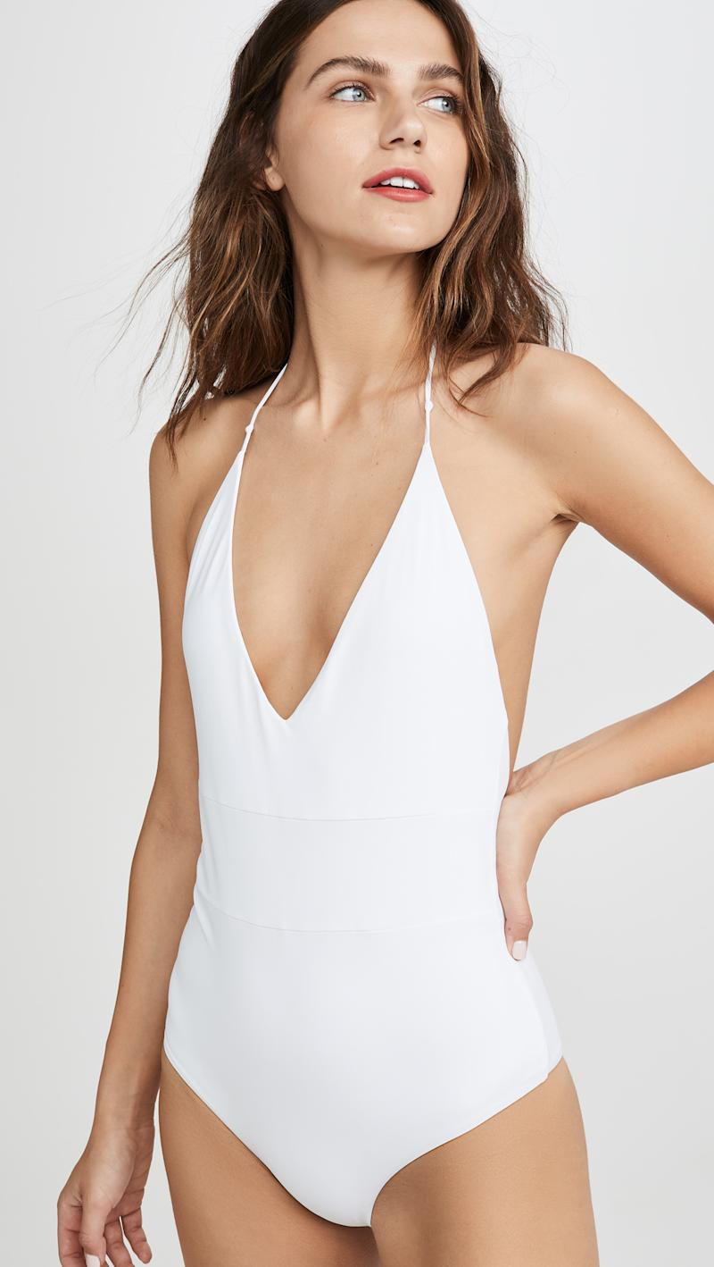 Plunging v-neck one piece with self-tie halter straps.