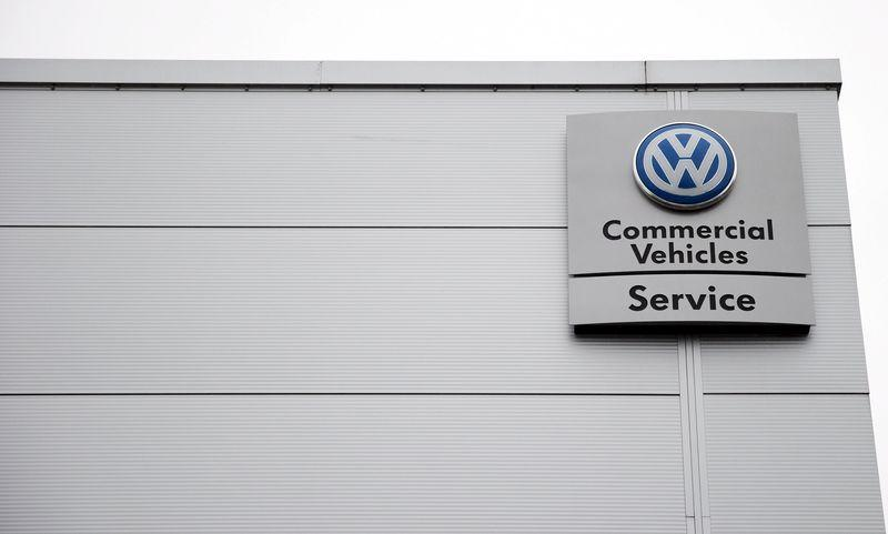 A VW commercial vehicles service sign is seen outside a Volkswagen dealership in London