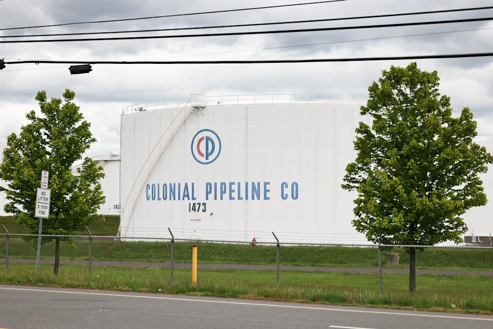 WOODBRIDGE, NEW JERSEY - MAY 10: Fuel holding tanks are seen at Colonial Pipeline's Linden Junction Tank Farm on May 10, 2021 in Woodbridge, New Jersey. Alpharetta, Georgia-based Colonial Pipeline, which has the largest fuel pipeline, was forced to shut down its oil and gas pipeline system on Friday after a ransomware attack that has slowed down the transportation of oil in the eastern U.S.(Photo by Michael M. Santiago/Getty Images)