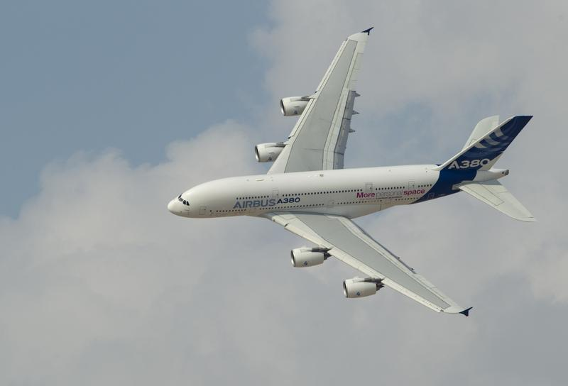 Airbus A380, the world's largest passenger jet, flies during the Dubai Airshow
