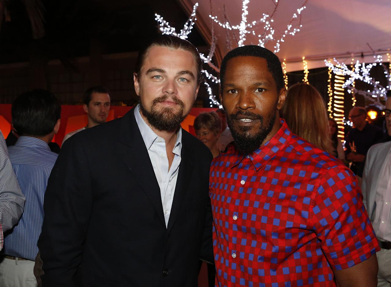 "CANCUN - APRIL 14: (EXCLUSIVE COVERAGE)  In this handout image provided by Sony, actors Leonardo DiCaprio and Jamie Foxx attend the ""Django Unchained"" party at Summer of Sony 4 Spring Edition held at the Ritz Carlton Hotel on April 14, 2012 in Cancun, Mexico.  (Photo by Matt Dames/Sony via Getty Images)"
